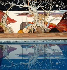 Georg Rauch's triptych reflecting in the pool