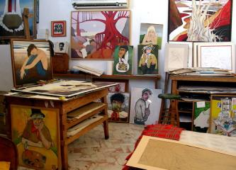 View of artist Georg Rauch's studio