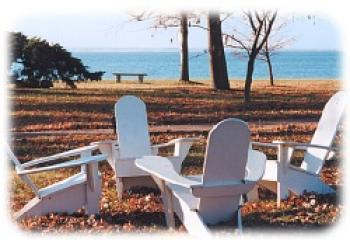 Lawn chairs overlooking the Chesapeake Bay